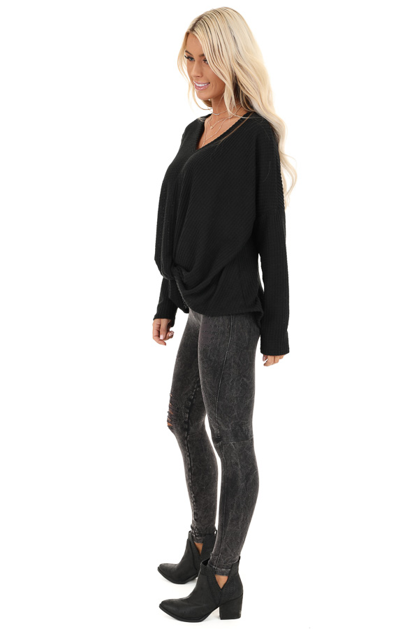 Black Waffle Knit Long Sleeve Top with Front Twist side full body