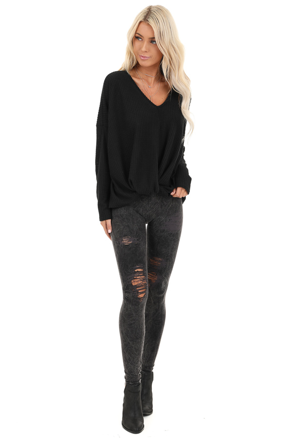 Black Waffle Knit Long Sleeve Top with Front Twist front full body