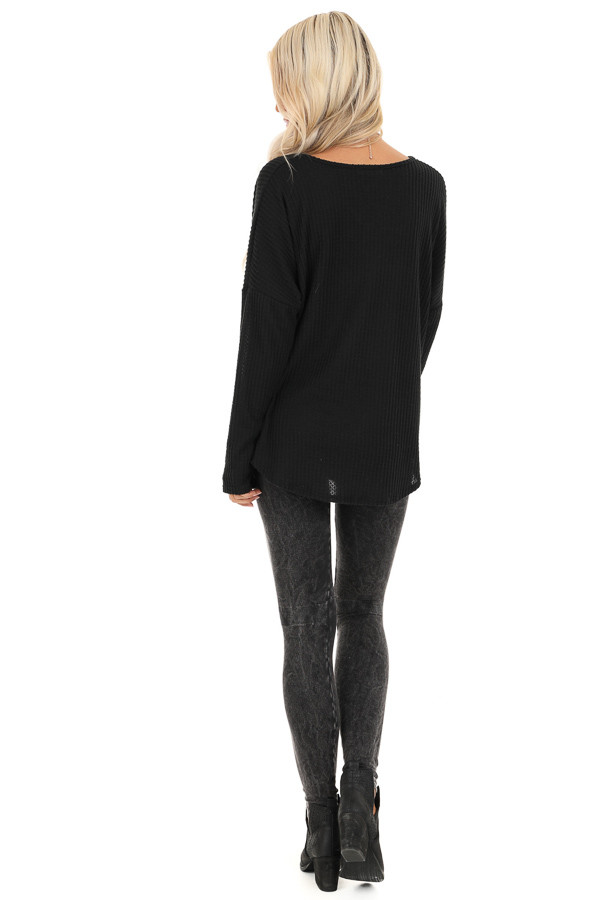 Black Waffle Knit Long Sleeve Top with Front Twist back full body