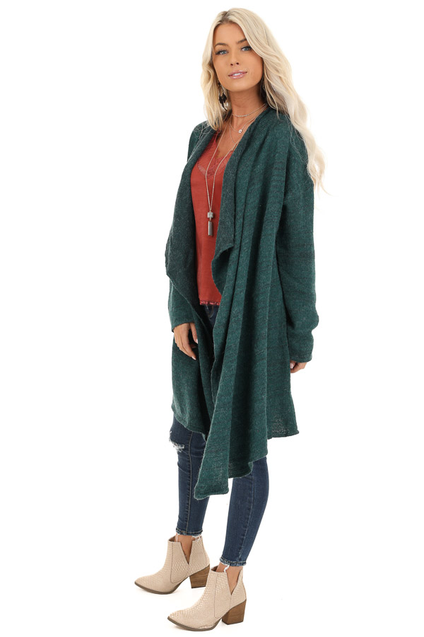 Forest Green Knit Cardigan with Draped Open Front side full body