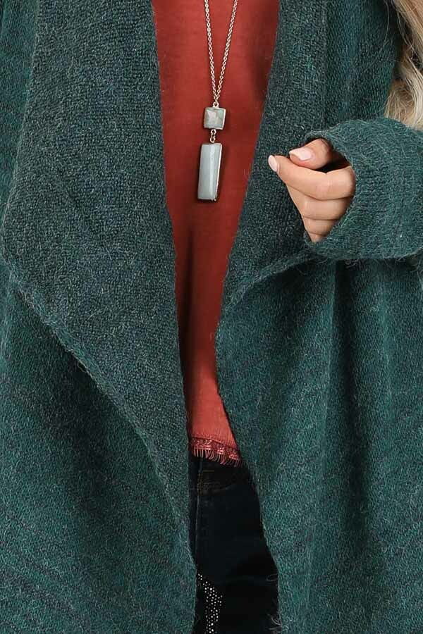 Forest Green Knit Cardigan with Draped Open Front detail