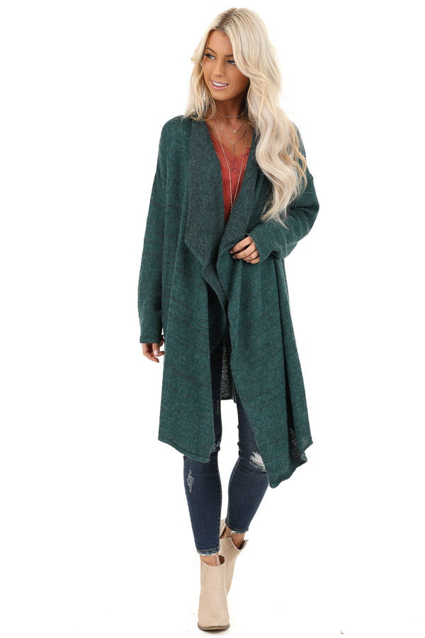 Forest Green Knit Cardigan with Draped Open Front front full body