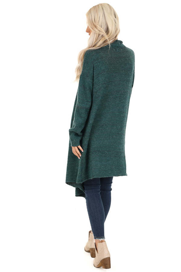 Forest Green Knit Cardigan with Draped Open Front back full body