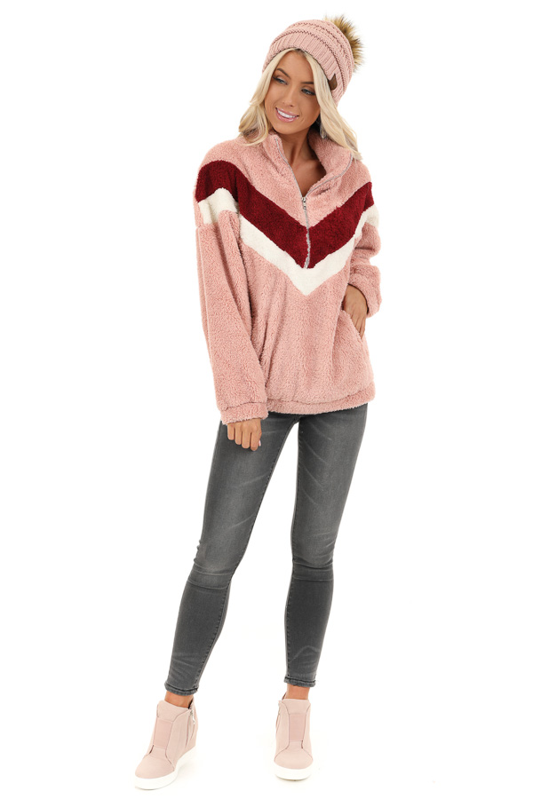 Baby Pink Chevron Print Long Sleeve Collared Sweatshirt front full body