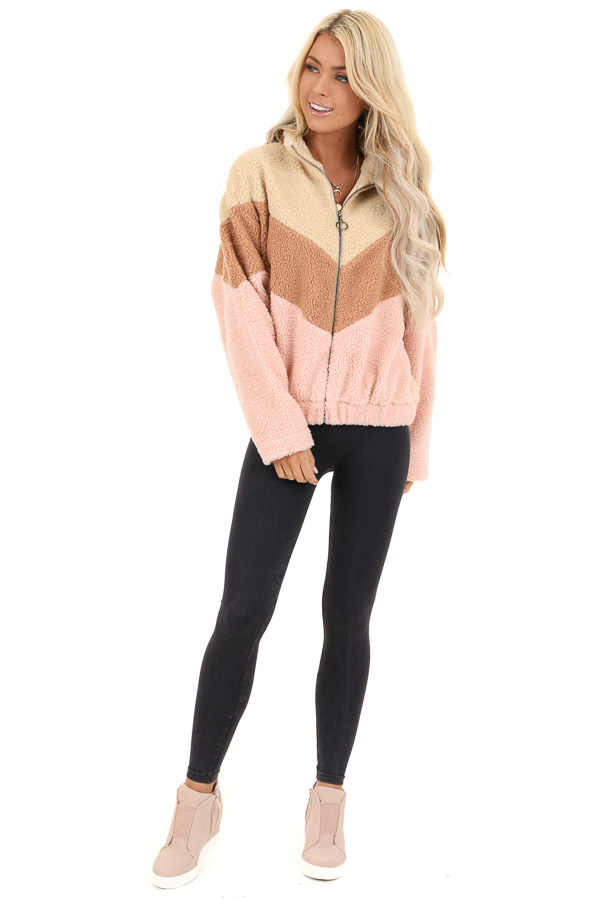 Beige Chevron Striped Zip Up Jacket with Long Sleeves front full body
