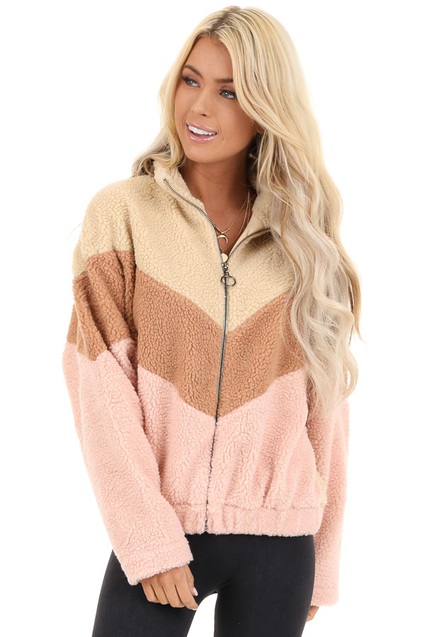Beige Chevron Striped Zip Up Jacket with Long Sleeves front close up