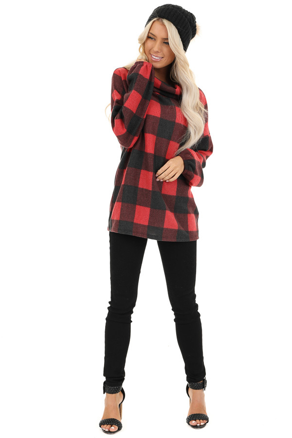 Tomato Red Buffalo Plaid Fleece Turtleneck Long Sleeve Top front full body
