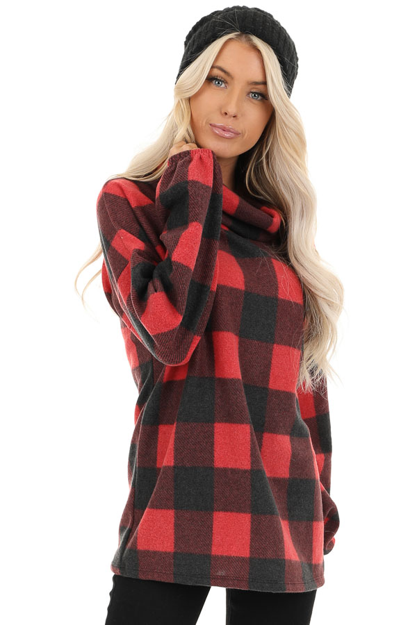 Tomato Red Buffalo Plaid Fleece Turtleneck Long Sleeve Top front close up