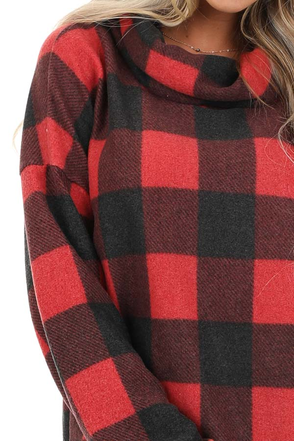 Tomato Red Buffalo Plaid Fleece Turtleneck Long Sleeve Top detail