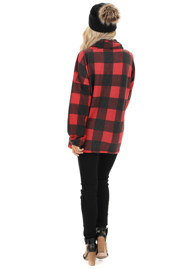 Tomato Red Buffalo Plaid Fleece Turtleneck Long Sleeve Top back full body