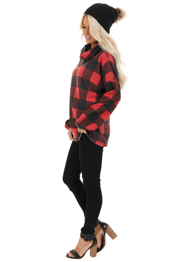 Tomato Red Buffalo Plaid Fleece Turtleneck Long Sleeve Top side full body