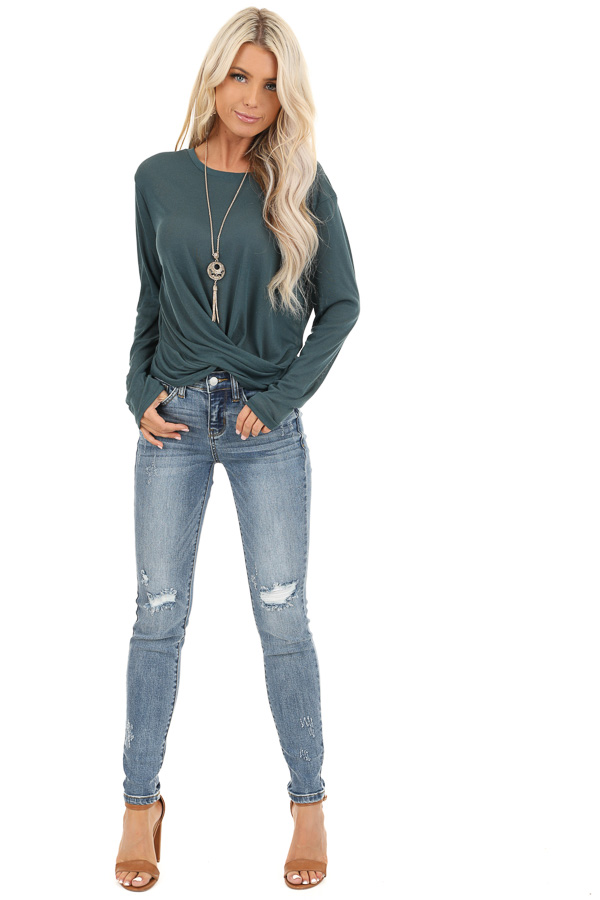 Dark Teal Long Sleeve Sheer Knit Top with Twist Detail front full body