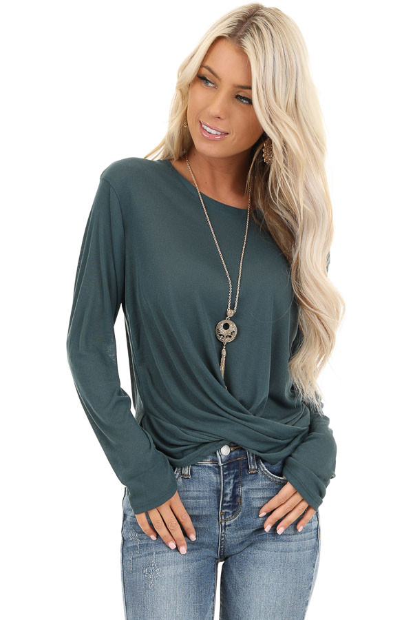 Dark Teal Long Sleeve Sheer Knit Top with Twist Detail front close up
