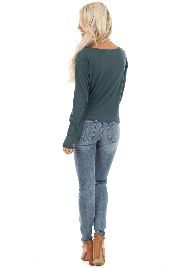Dark Teal Long Sleeve Sheer Knit Top with Twist Detail back full body