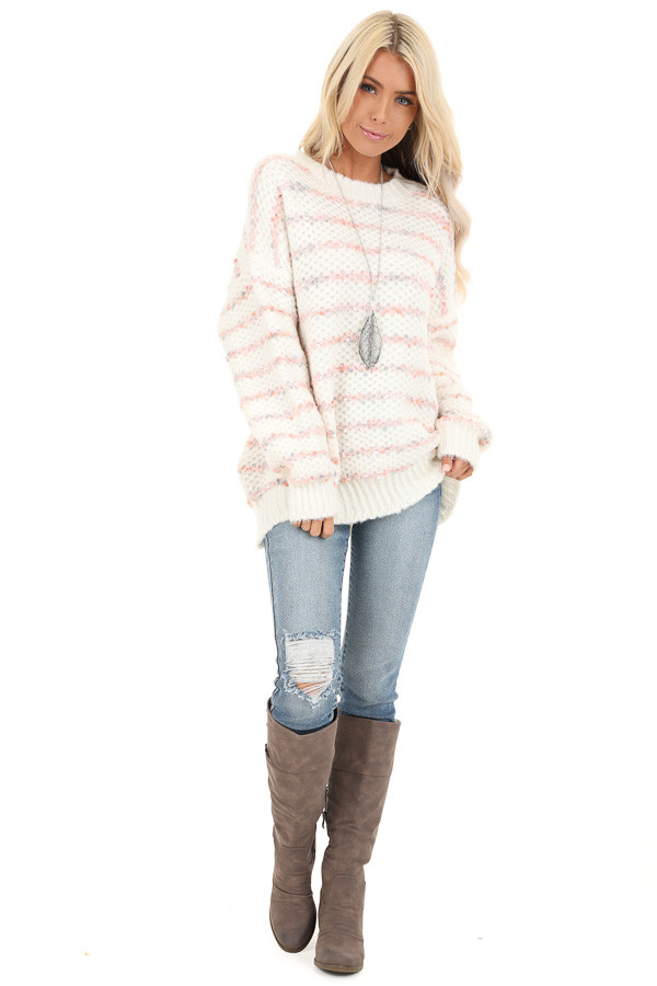 Ivory and Blush Striped Sweater with Long Sleeves front full body