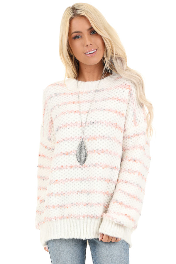 Ivory and Blush Striped Sweater with Long Sleeves front close up