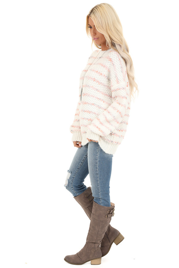 Ivory and Blush Striped Sweater with Long Sleeves side full body