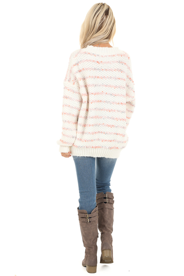 Ivory and Blush Striped Sweater with Long Sleeves back full body