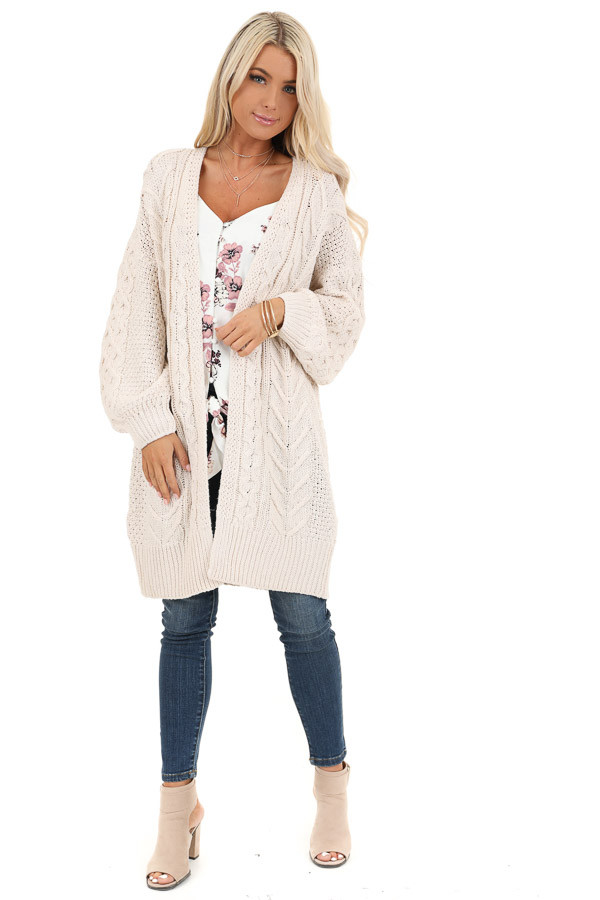 Cream Open Front Cable Knit Cardigan with Long Puff Sleeves front full body