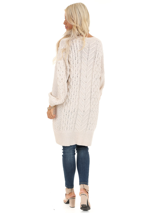 Cream Open Front Cable Knit Cardigan with Long Puff Sleeves back full body