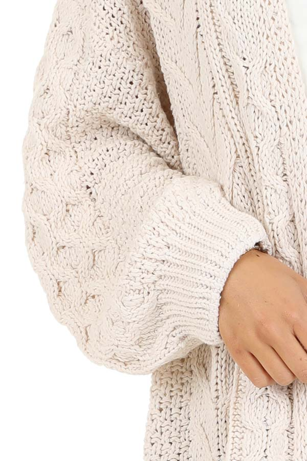Cream Open Front Cable Knit Cardigan with Long Puff Sleeves detail