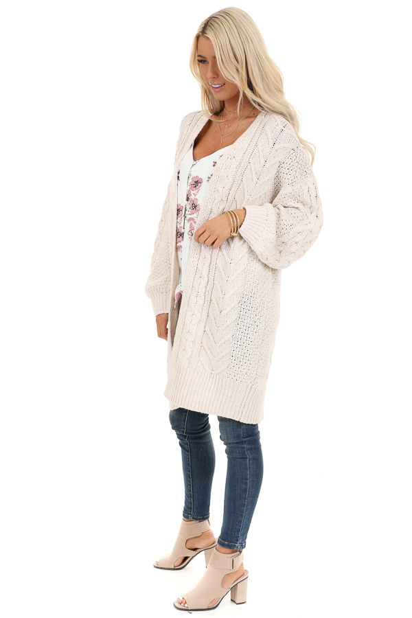 Cream Open Front Cable Knit Cardigan with Long Puff Sleeves side full body