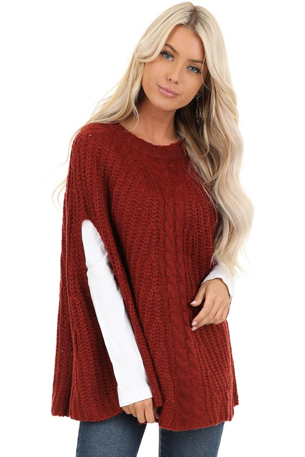 Sangria Crochet Knit Poncho Top with Rounded Hemline front close up