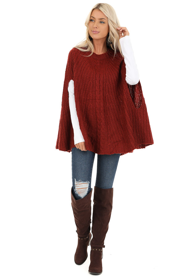Sangria Crochet Knit Poncho Top with Rounded Hemline front full body