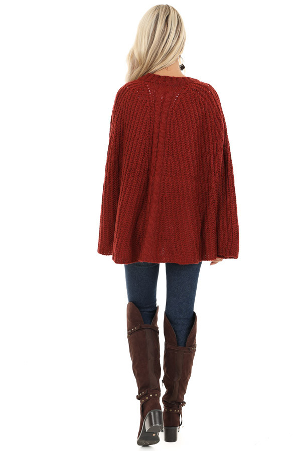 Sangria Crochet Knit Poncho Top with Rounded Hemline back full body