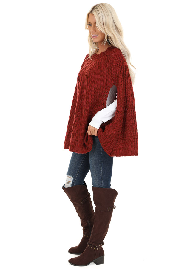 Sangria Crochet Knit Poncho Top with Rounded Hemline side full body