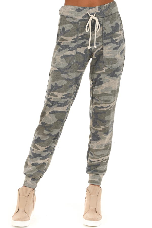 Rustic Sage Camouflage Joggers with Front Pockets front view