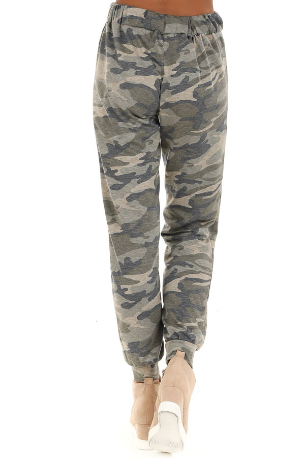 Rustic Sage Camouflage Joggers with Front Pockets back view