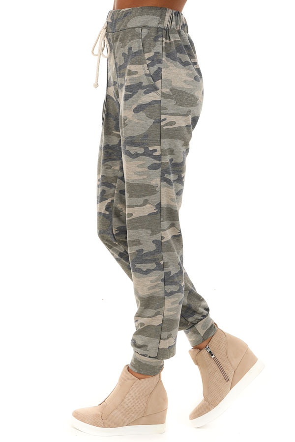 Rustic Sage Camouflage Joggers with Front Pockets side view