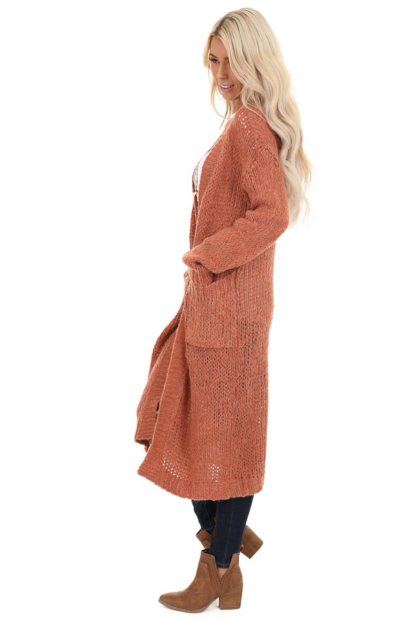 Faded Brick Open Front Long Knit Cardigan with Front Pockets side full body