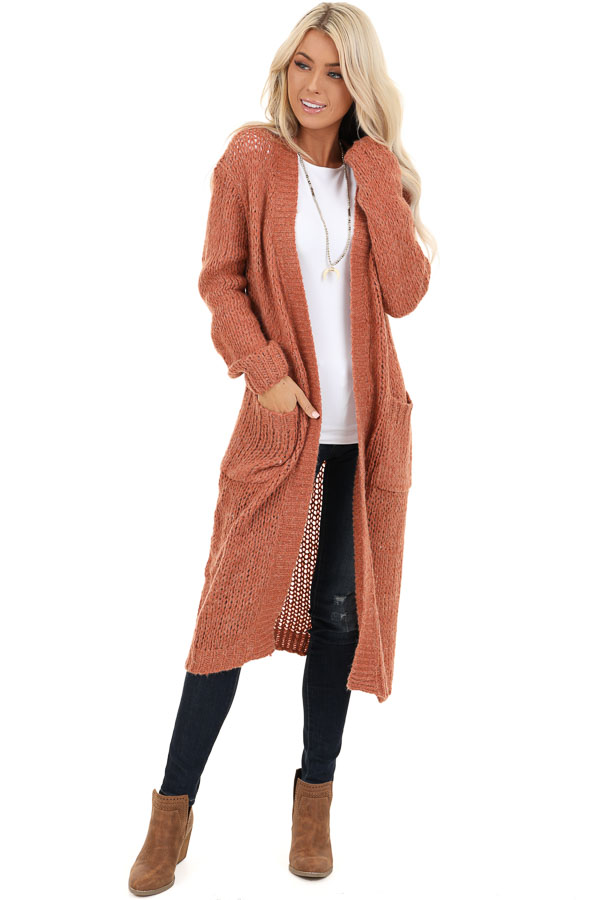 Faded Brick Open Front Long Knit Cardigan with Front Pockets front full body