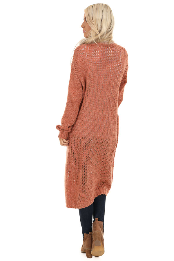 Faded Brick Open Front Long Knit Cardigan with Front Pockets back full body