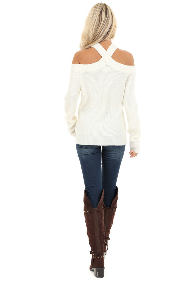 Ivory Open Shoulder Ribbed Knit Sweater Top back full body