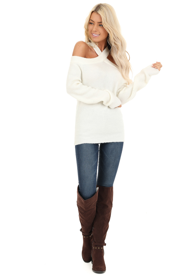 Ivory Open Shoulder Ribbed Knit Sweater Top front full body
