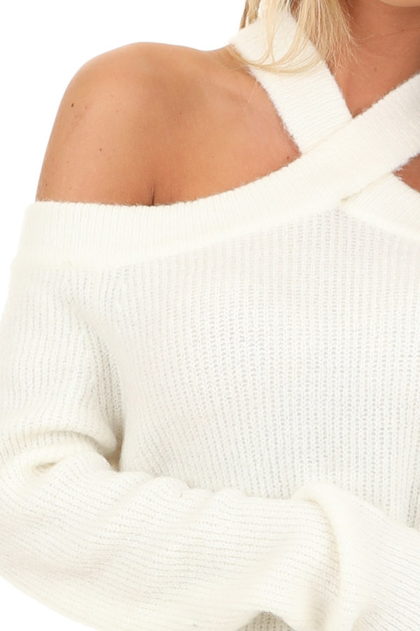 Ivory Open Shoulder Ribbed Knit Sweater Top detail