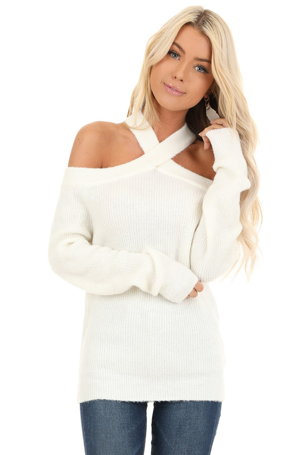 Ivory Open Shoulder Ribbed Knit Sweater Top front close up