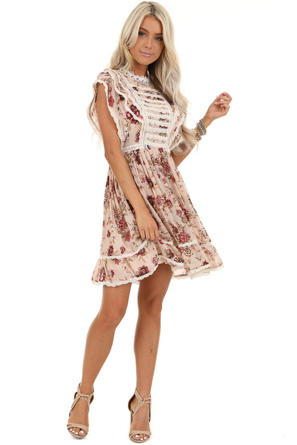 Cream Floral Dress with Ruffle and Crochet Lace Details front full body