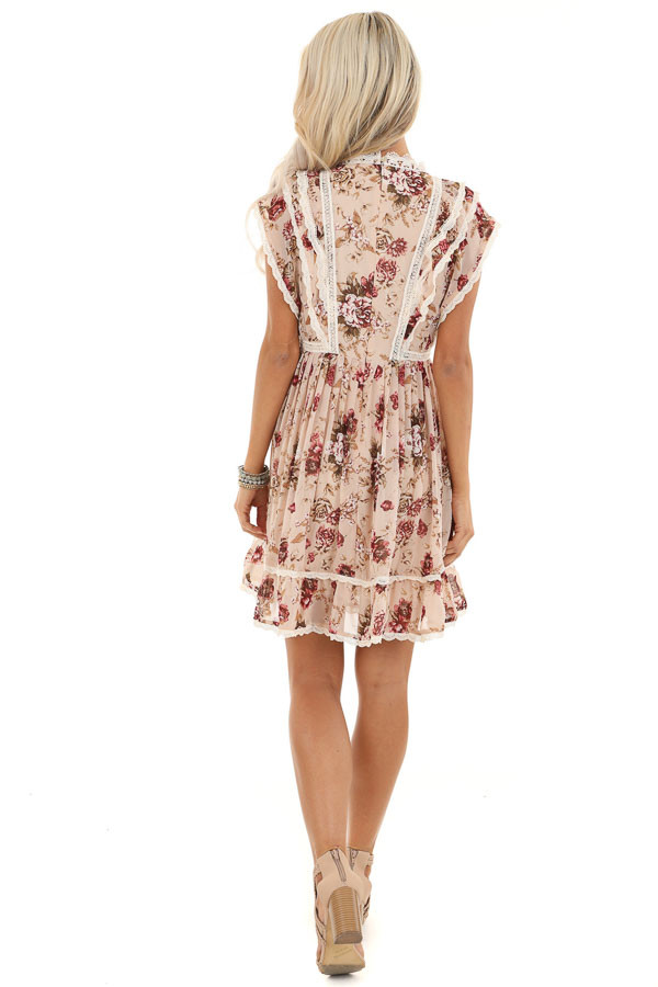 Cream Floral Dress with Ruffle and Crochet Lace Details back full body