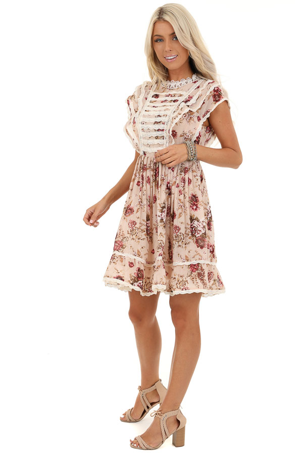 Cream Floral Dress with Ruffle and Crochet Lace Details side full body
