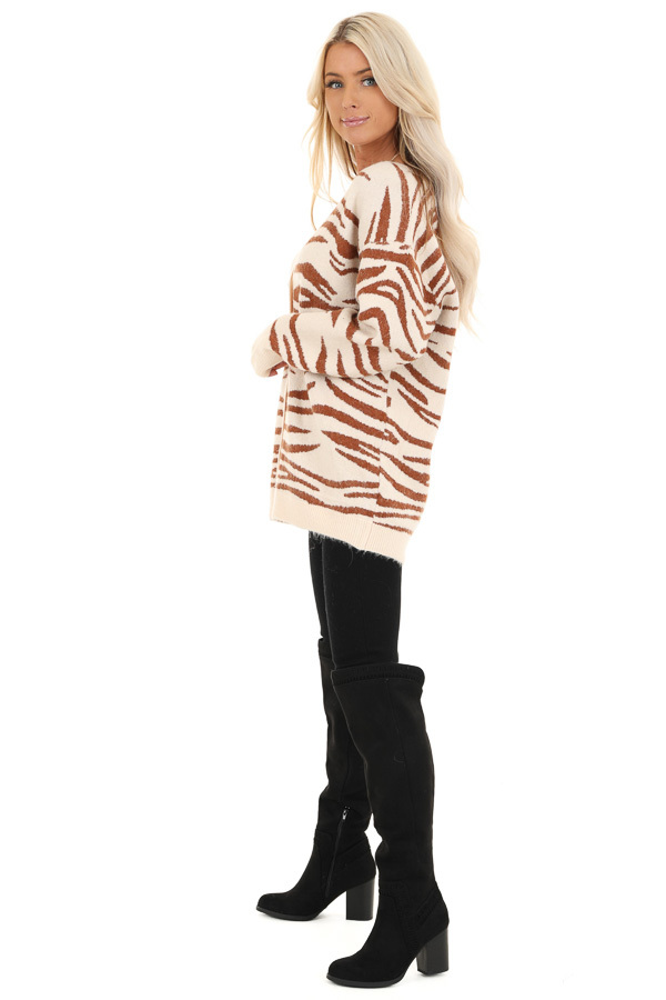 Ivory and Rust Zebra Striped Cardigan with Button Up Front side full body