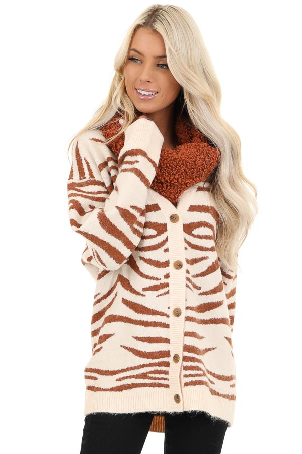 Ivory and Rust Zebra Striped Cardigan with Button Up Front front close up