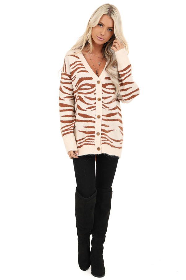 Ivory and Rust Zebra Striped Cardigan with Button Up Front front full body