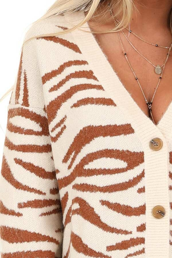 Ivory and Rust Zebra Striped Cardigan with Button Up Front detail