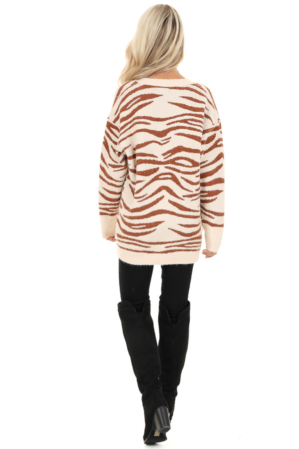 Ivory and Rust Zebra Striped Cardigan with Button Up Front back full body