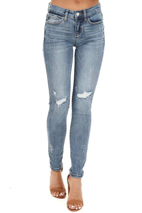 Medium Wash Mid Rise Distressed Skinny Jeans front view