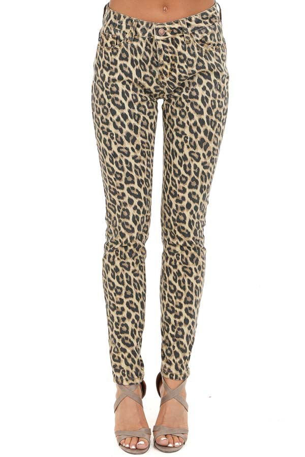 Cream and Mocha Leopard Print Mid Rise Skinny Jeans front view